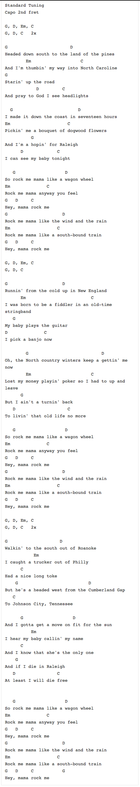Wagon Wheel Chords Lyrics